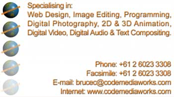 CodeMediaWorks' Business Card - Back View